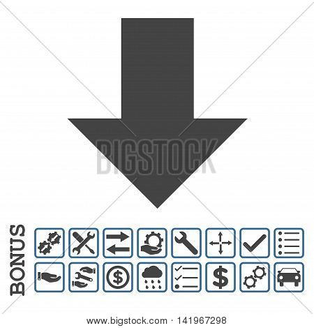 Arrow Down icon with bonus pictograms. Vector style is flat iconic symbol, cobalt and gray colors, white background. Bonus style is bicolor square rounded frames with symbols inside.