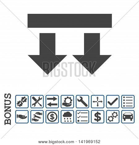 Bring Down icon with bonus pictograms. Vector style is flat iconic symbol, cobalt and gray colors, white background. Bonus style is bicolor square rounded frames with symbols inside.