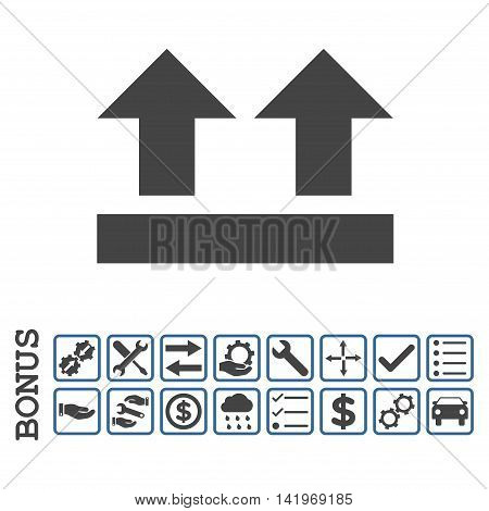 Bring Up icon with bonus pictograms. Vector style is flat iconic symbol, cobalt and gray colors, white background. Bonus style is bicolor square rounded frames with symbols inside.