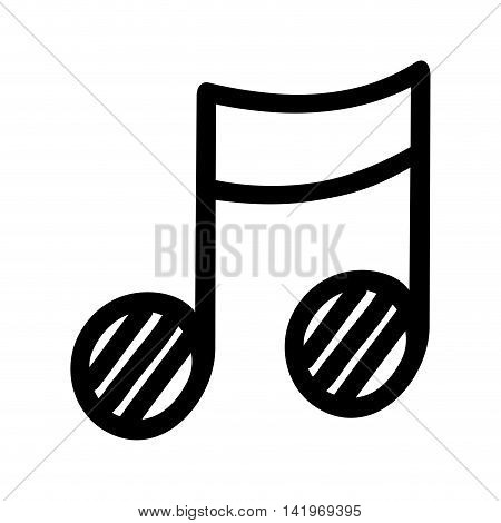 Music note , isolated black and white flat icon design