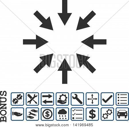 Compact Arrows icon with bonus pictograms. Vector style is flat iconic symbol, cobalt and gray colors, white background. Bonus style is bicolor square rounded frames with symbols inside.