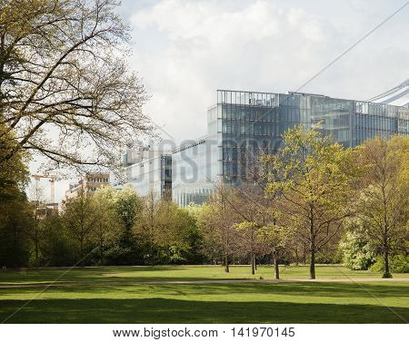 green park at spring season in Berlin financial centre, Germany landscape , citylife concept