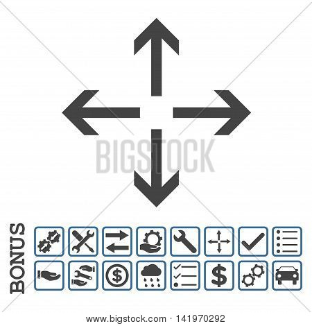 Expand Arrows icon with bonus pictograms. Vector style is flat iconic symbol, cobalt and gray colors, white background. Bonus style is bicolor square rounded frames with symbols inside.
