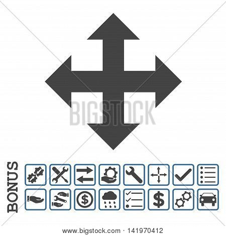 Expand icon with bonus pictograms. Vector style is flat iconic symbol, cobalt and gray colors, white background. Bonus style is bicolor square rounded frames with symbols inside.