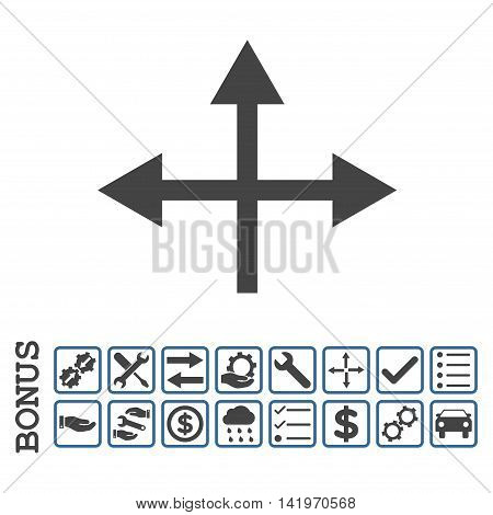 Intersection Directions icon with bonus pictograms. Vector style is flat iconic symbol, cobalt and gray colors, white background. Bonus style is bicolor square rounded frames with symbols inside.