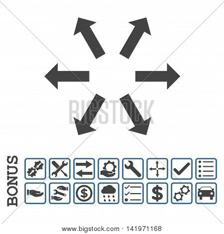 Radial Arrows icon with bonus pictograms. Vector style is flat iconic symbol, cobalt and gray colors, white background. Bonus style is bicolor square rounded frames with symbols inside.