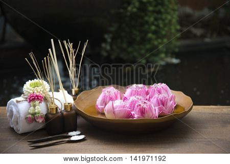 Spa massage compress balls, herbal ball with treaments spa and lotus , Thailand, soft focus