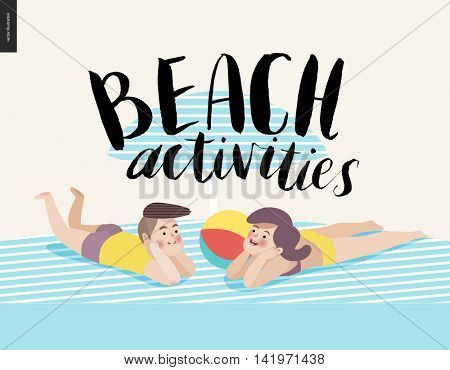 Beach activities calligraphy with sunbathing young couple - a vector cartoon brush lettering Beach Activities, boy and girl under the umbrella on the beach sand on striped plaid