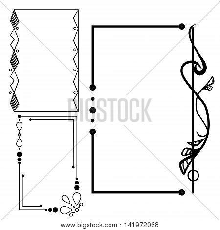 Decorative vintage frames set in black and white. Vector illustration