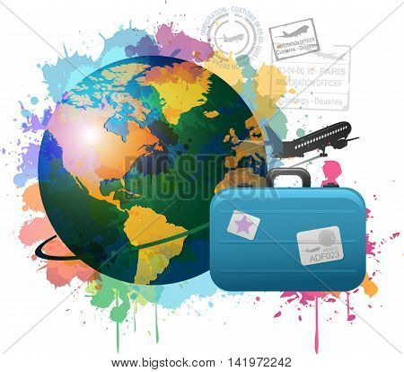 Trip to World. Travel to World. Vacation. Road trip. Tourism. Travel banner. suitcase with landmarks. Journey. Travel and adventure template, travel time.