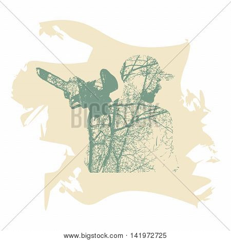 Double exposure of bearded brutal man with chainsaw. Tree branch on body.