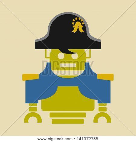Cute vintage robot. Robotics industry relative image. Napoleon Bonaparte cartoon character