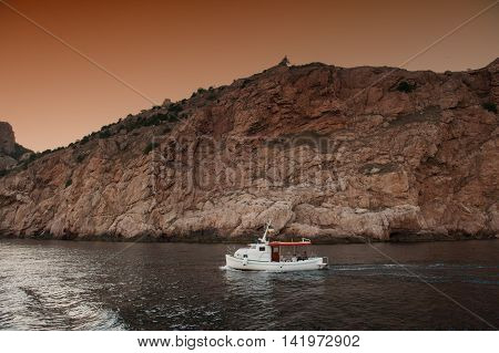 boat trip in the evening in the Bay