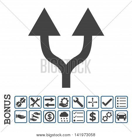 Split Arrows Up icon with bonus pictograms. Vector style is flat iconic symbol, cobalt and gray colors, white background. Bonus style is bicolor square rounded frames with symbols inside.
