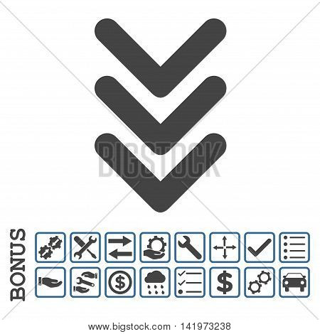 Triple Arrowhead Down icon with bonus pictograms. Vector style is flat iconic symbol, cobalt and gray colors, white background. Bonus style is bicolor square rounded frames with symbols inside.