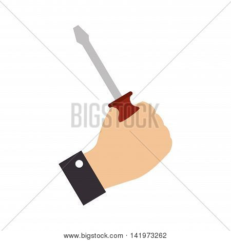 screwdriver hand grab construction builder tool vector graphic isolated and flat illustration