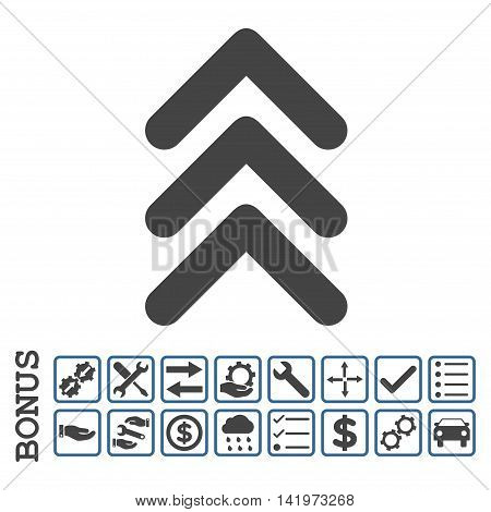 Triple Arrowhead Up icon with bonus pictograms. Vector style is flat iconic symbol, cobalt and gray colors, white background. Bonus style is bicolor square rounded frames with symbols inside.