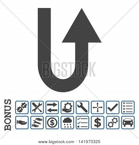 Turn Forward icon with bonus pictograms. Vector style is flat iconic symbol, cobalt and gray colors, white background. Bonus style is bicolor square rounded frames with symbols inside.