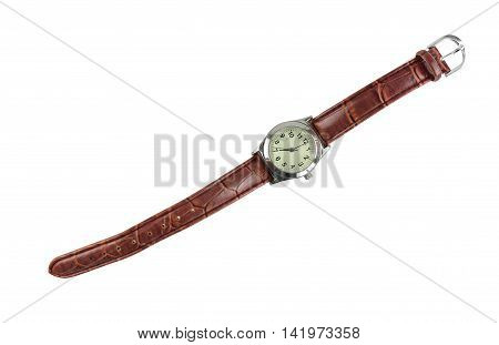 Watch leather strap brown fashion isolated on white background and have clipping paths.