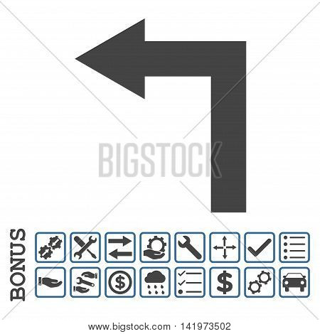 Turn Left icon with bonus pictograms. Vector style is flat iconic symbol, cobalt and gray colors, white background. Bonus style is bicolor square rounded frames with symbols inside.