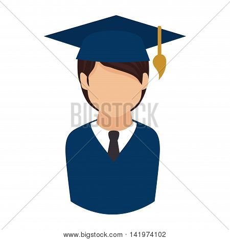 graduate man graduation education university gown vector graphic isolated and flat illustration