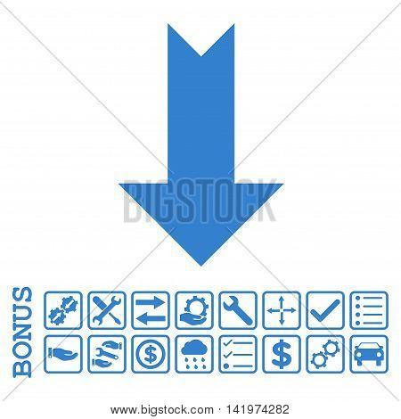 Arrow Down icon with bonus pictograms. Vector style is flat iconic symbol, cobalt color, white background. Bonus style is square rounded frames with symbols inside.