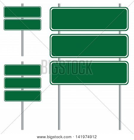 Blank green road sign design isolated on white background.