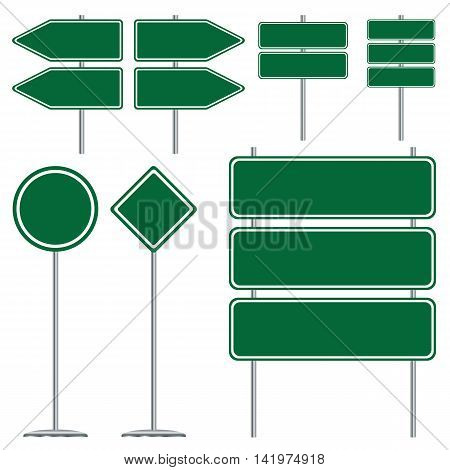 Blank green and white road sign design on white background.