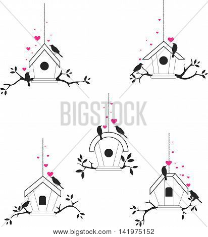collection of bird silhouette with cage hinging
