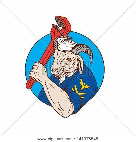 Illustration of a navy goat holding pipe wrench set inside circle on isolated background done in retro style.