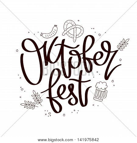 Oktoberfest Celebration. The trend calligraphy. Vector illustration on white background. Beer icons. Excellent gift card. Elements for design.