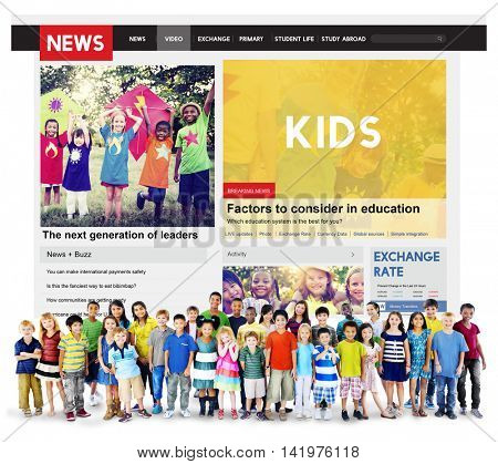 Kids News Feed Article Advertisement Concept