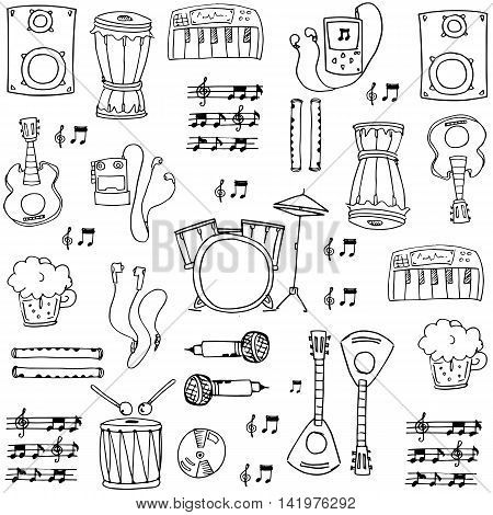 Doodle of element music theme stock collection vector