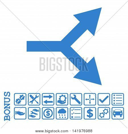 Bifurcation Arrow Right icon with bonus pictograms. Vector style is flat iconic symbol, cobalt color, white background. Bonus style is square rounded frames with symbols inside.