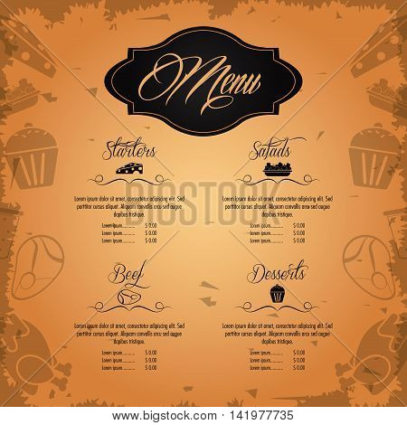 starters salads beef dessert beverage menu restaurant kitchen icon. Colorfull illustration Grunge background. Vector graphic