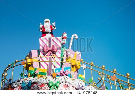 Seoul South Korea - November 12 2013: Santa Claus Parade in amusement park
