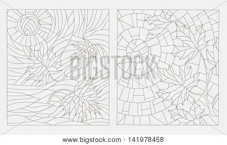Set contour illustrations of the stained glass Windows on the theme of autumn maple leaves against the sky, vector