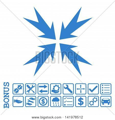 Compression Arrows icon with bonus pictograms. Vector style is flat iconic symbol, cobalt color, white background. Bonus style is square rounded frames with symbols inside.