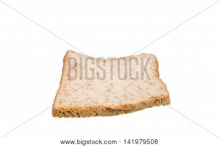 Bread wheat slices isolated on white background. Focus stacking technique.