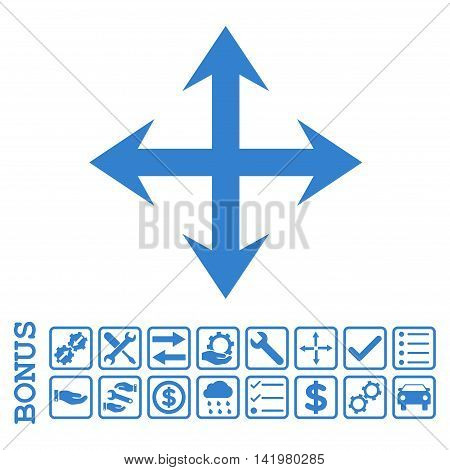 Expand Arrows icon with bonus pictograms. Vector style is flat iconic symbol, cobalt color, white background. Bonus style is square rounded frames with symbols inside.