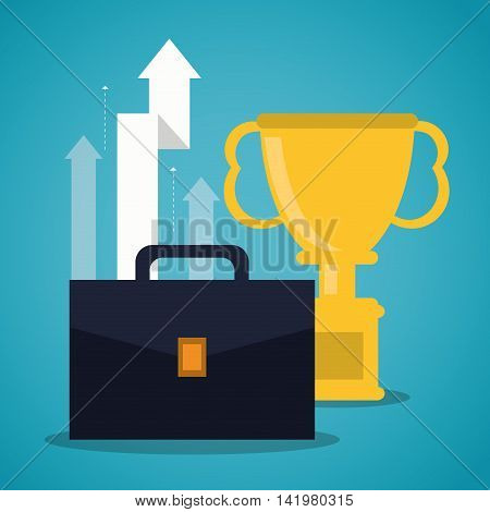 trophy suitcase bag business icon. Colorfull and flat illustration. Vector graphic