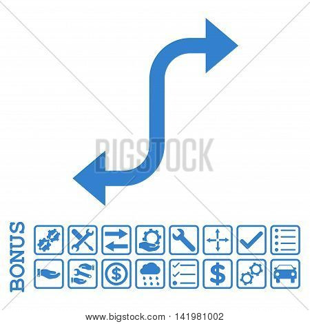 Opposite Bend Arrow icon with bonus pictograms. Vector style is flat iconic symbol, cobalt color, white background. Bonus style is square rounded frames with symbols inside.