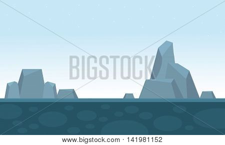 Big rock scenery backgrounds game vector illustration