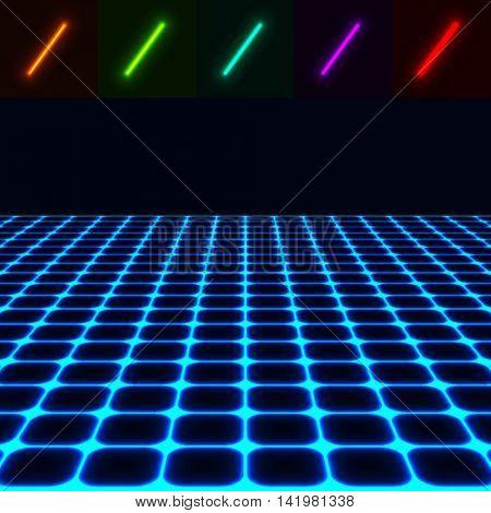 glowing perspective floor - easy to change color EPS10 vector