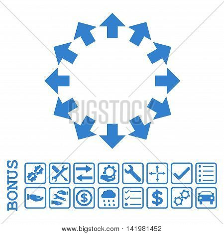 Radial Arrows icon with bonus pictograms. Vector style is flat iconic symbol, cobalt color, white background. Bonus style is square rounded frames with symbols inside.