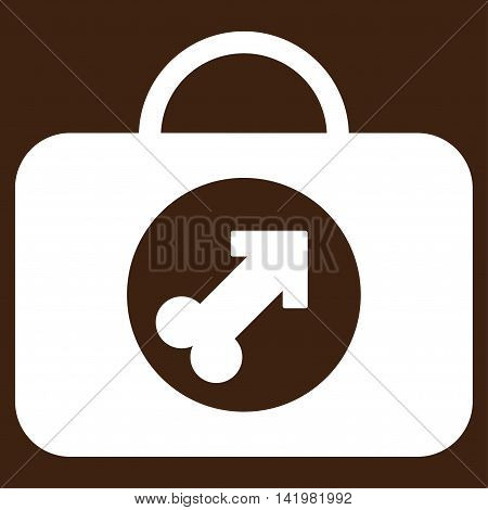 Male Erection Case vector icon. Style is flat symbol, white color, rounded angles, brown background.
