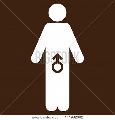 Male Potence vector icon. Style is flat symbol, white color, rounded angles, brown background.
