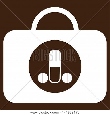 Male Sexual Toolbox vector icon. Style is flat symbol, white color, rounded angles, brown background.