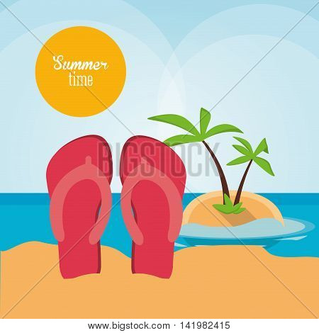sandals palm tree summer holiday vacation icon. Colorfull and flat illustration. Vector graphic
