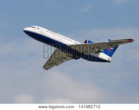 The Moscow region - 31 July 2016: A passenger plane Yak-42D Centre-Avia takes off and takes place in Domodedovo airport July 31 2016 Moscow Region Russia